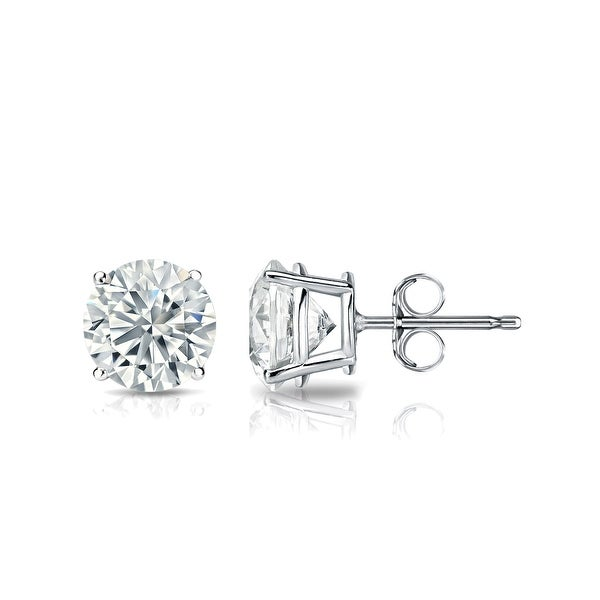 GIA Certified 14k White Gold Round Diamond Stud Earrings 4-Prong (4.40 cttw, K-L, VS2-SI1) Push Back