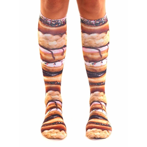 Stacked Donuts Photo Print Knee High Socks - Pink