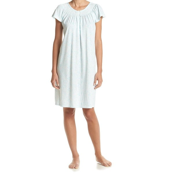 Miss Elaine NEW Blue Womens Size Large L Aqua Paisley Nightgown ...