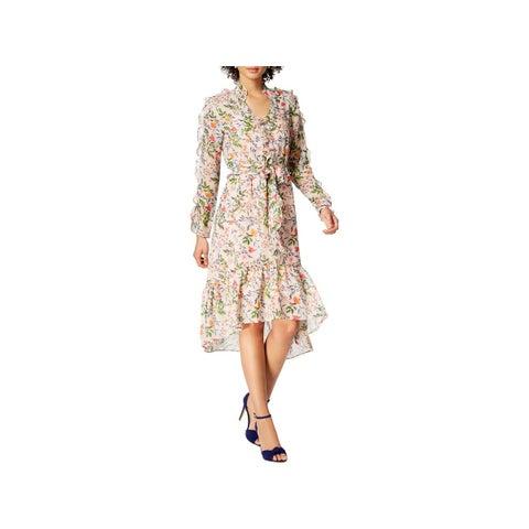 Julia Jordan Womens Midi Dress Floral Print Ruffled
