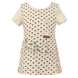 Richie House Girls' T-shirt with Umbrella Print and Little Girl