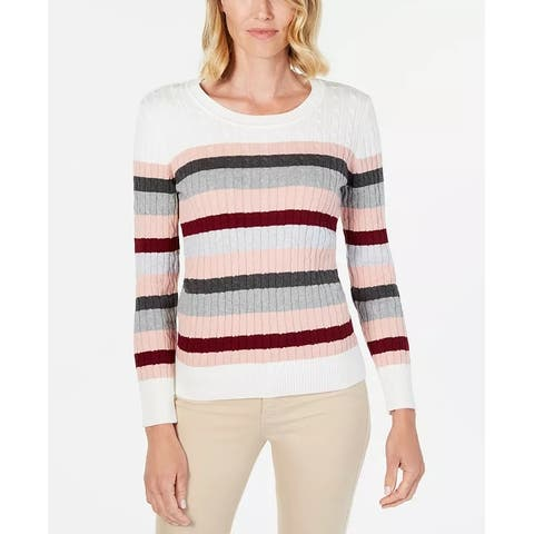 Karen Scott Women's Holly Striped Cotton Cable Sweater Medium Red Size Extra Large