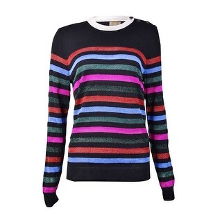 Anne Klein Women's Horizontal Metallic Stripe Sweater - l