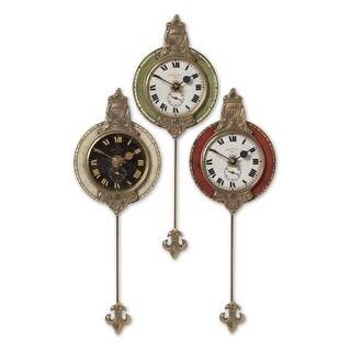 Set of 3 Weathered Red Green and Cream Pendulum Wall Clocks 11""