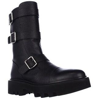 Kalliste 5110 Lug Sole Mid Calf Buckled Combat Boots, Blue Grey