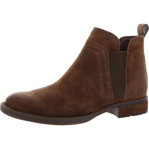 Born Womens Brenta Ankle Boots Leather Slip on - Rust
