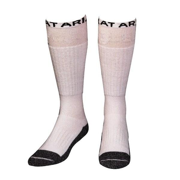 Ariat Socks Mens Boot Over Calf Reinforced Cushion White 2 pack