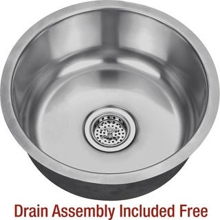 """Miseno MSS17C 17-1/8"""" Circular Undermount Stainless Steel Bar / Prep Sink - Drain Assembly Included"""