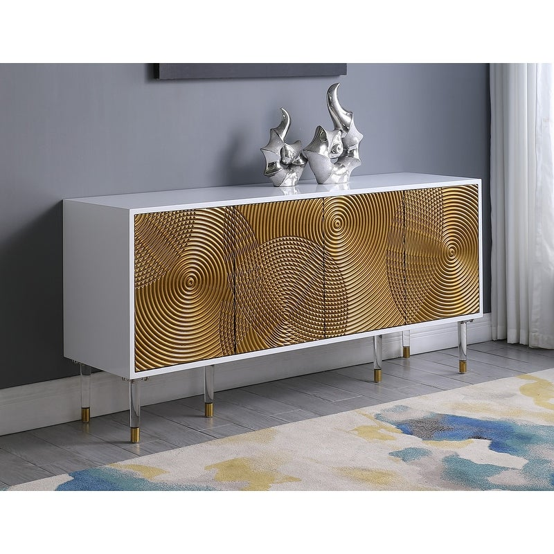 Best Master Furniture White/ Gold 4 Door Sideboard with Drawer