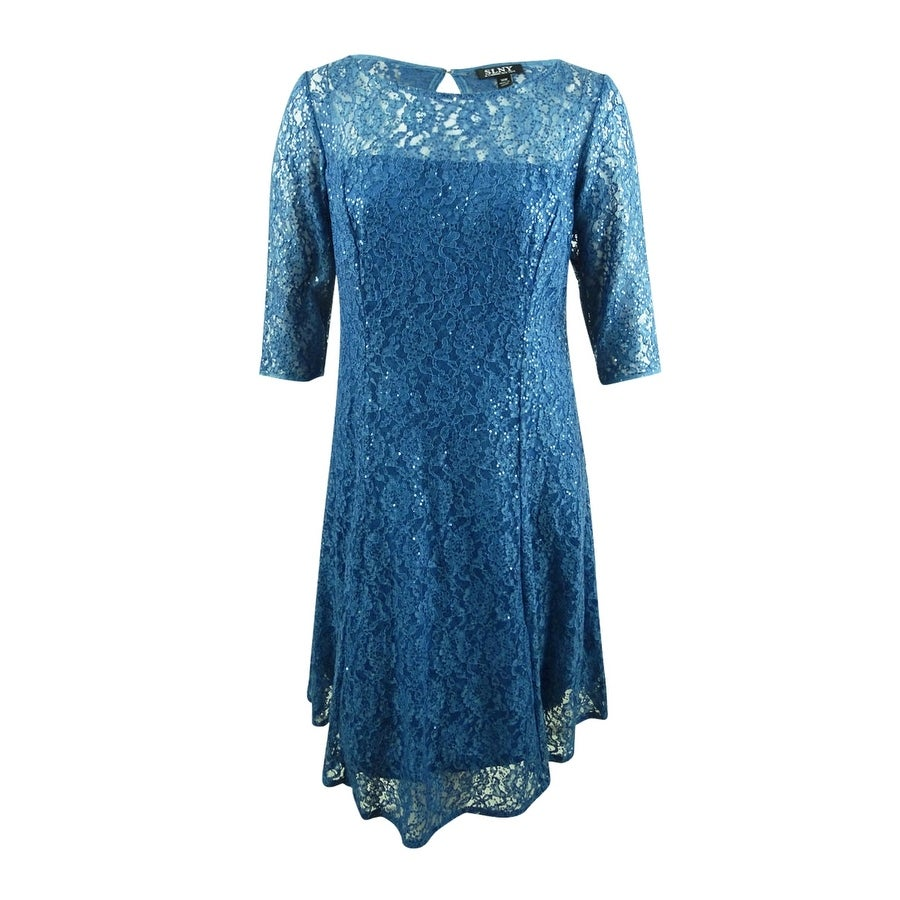 SL Fashions Womens Plus Size Sequined Lace A-Line Dress