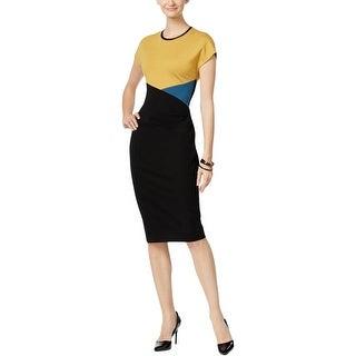 Anne Klein Womens Wear to Work Dress Colorblock Faux Leather Trim - 16