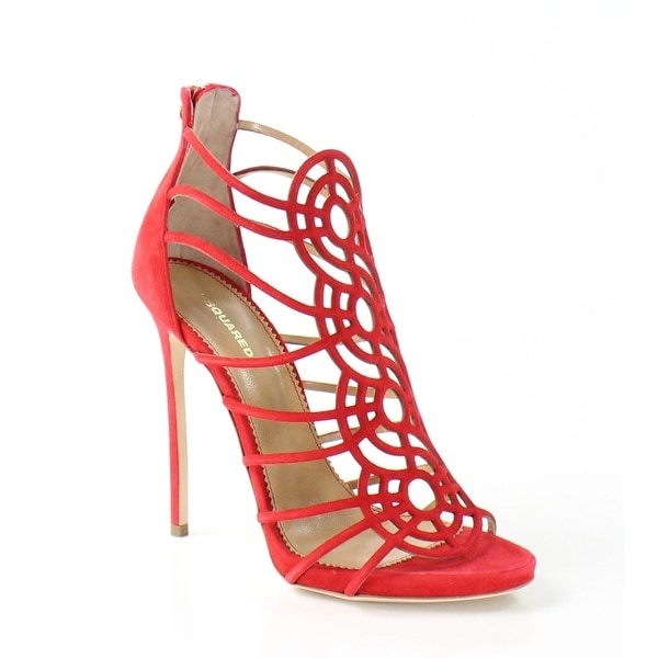 DSquared2 NEW Red Tacco Shoes Size 8.5M Strappy Suede Heels