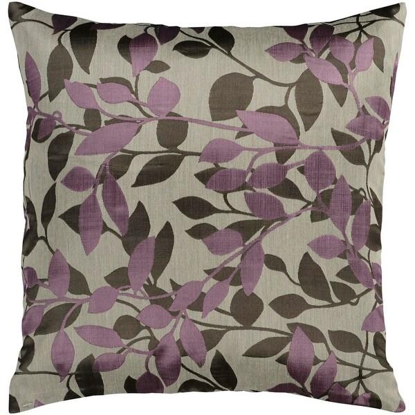 "18"" Lilac Purple and Khaki Brown Decorative Throw Pillow"
