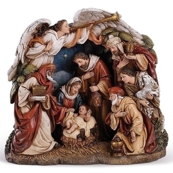 """9.375"""" Traditional Religious Arching Angel Christmas Nativity Scene"""