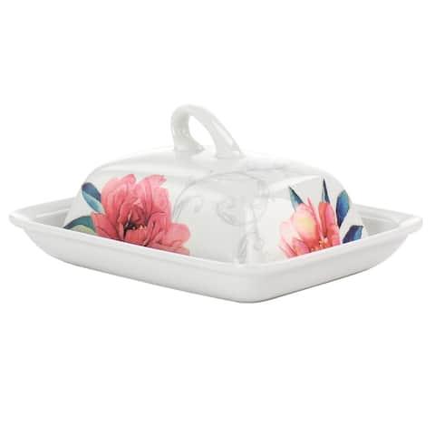 Martha Stewart Fine Ceramic 7.5 Inch Butter Dish in Floral Designs