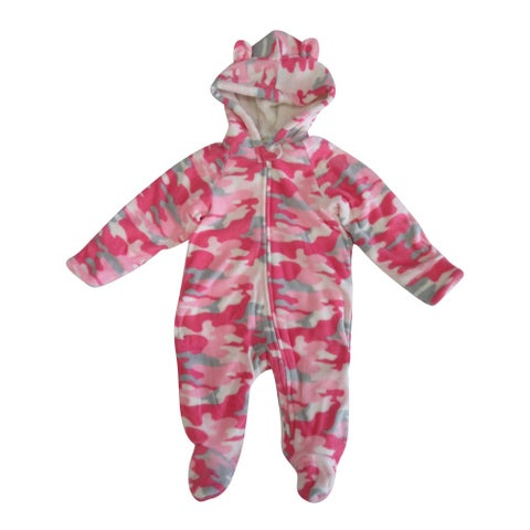 Healthtex Baby Girls Pink Spotted Pattern Full Body Hooded Bodysuit