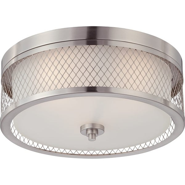 "Nuvo Lighting 60/4691 Fusion 3 Light 15"" Wide Flush Mount Drum Ceiling Fixture - Brushed nickel"
