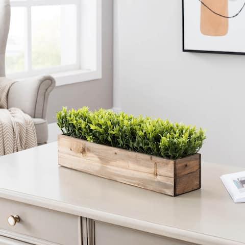 Decorative Greenery In Real Wood Box