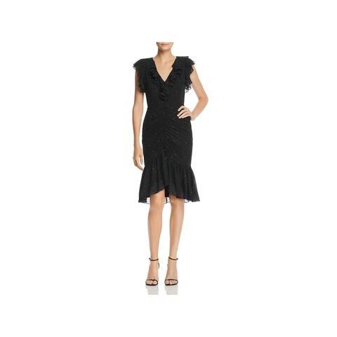 WAYF Womens Daphnie Midi Dress Ruffled V-Neck - Black Polka Dot