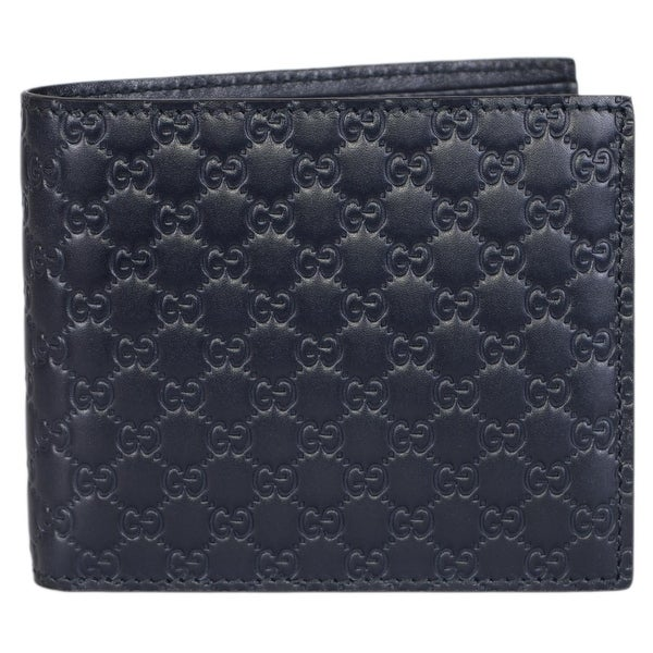 Gucci Men's 260987 Blue Leather MICRO GG Guccissima Bifold Wallet