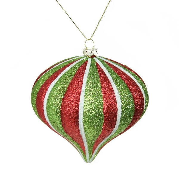 "3.5"" Merry & Bright Red, White and Green Glitter Stripe Shatterproof Christmas Onion Ornament - RED"