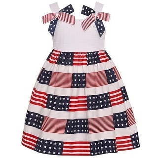 Bonnie Jean Little Girls Blue Red White American Flag Patriotic Dress