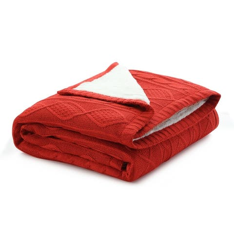 """Malie 50""""x60"""" Cable Knit Throw"""