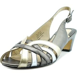 Ros Hommerson Pam Women Peep-Toe Leather Silver Slingback Heel