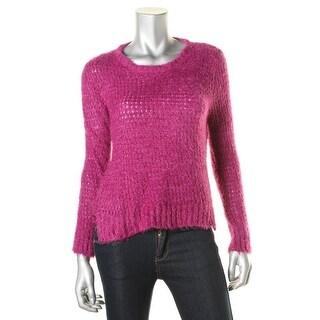 Rampage Womens Juniors Metallic Open Knit Pullover Sweater