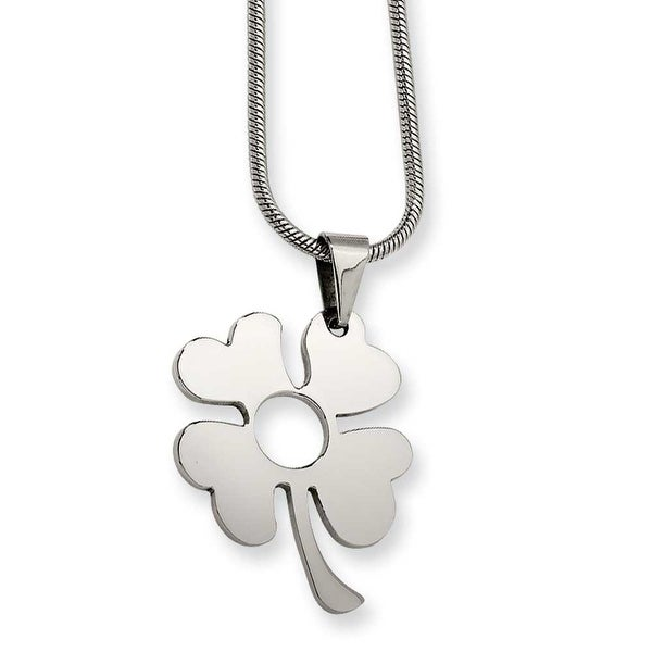 Chisel Stainless Steel Four Leaf Clover Pendant Necklace (2 mm) - 18 in
