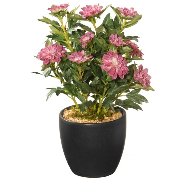 "11"" Potted Zinnia Artificial Flowers - N/A"
