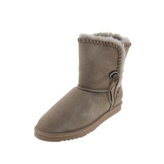 Koolaburra Womens Trishka Short Mid-Calf Boots Leather Sheepskin Lined