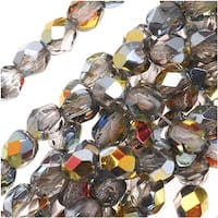 Czech Fire Polished Glass Beads 4mm Round Crystal Marea (50)