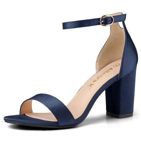 Women's Satin Open Toe Ankle Strap Chunky Heels Sandals