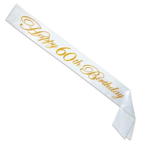 "Set of 6 Gold Glittered Happy 60th Birthday White Satin Sash 33"""