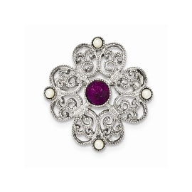 Silvertone Downton Abbey Simulated Pearl and Purple Crystal Pin