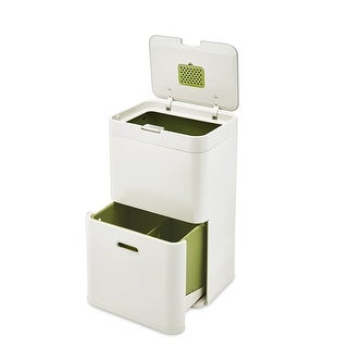 Joseph Joseph 30019 Intelligent Waste Totem Trash Can and Recycler Unit Garbage Can Recycling Bin, 13-gallon, Off-White