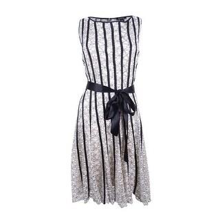SL Fashions Women's Sleeveless Belted A-Line Dress - new ivory/black