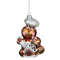 """4.75"""" Gingerbread Kisses Glass Chef Decorative Christmas Ornament - brown"""