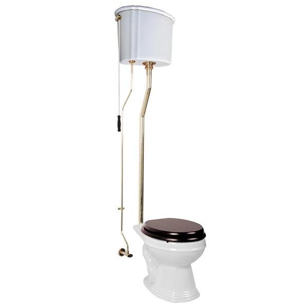 Renovator's Supply White High Tank Toilet, Elongated Bowl, Brass L-Pipe