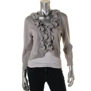 Cable & Gauge Womens Metallic Ruffled Cardigan Sweater