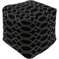 "18"" Black and White Geometric Pattern Woven Decorative  Outdoor Patio Pouf Ottoman"