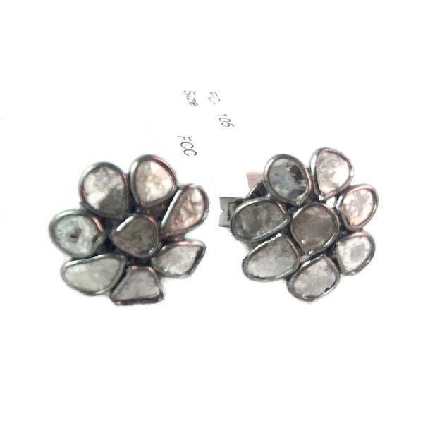 Sterling Silver Genuine Slice Diamond Flower Studs Earring in Black Rhodium