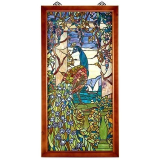 Design Toscano Peacock & Wisteria Tiffany-Style Stained Glass Window