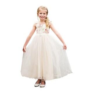 Little Girls Ivory Floral Top Bow Skirt Ruffle Lillian Flower Girl Dress
