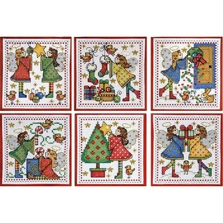 """Decorating Angels Ornaments Counted Cross Stitch Kit-4""""X4"""" 14 Count Set Of 6"""