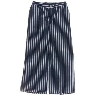 Lauren Ralph Lauren Womens Wide Leg Pants Striped Flat Front