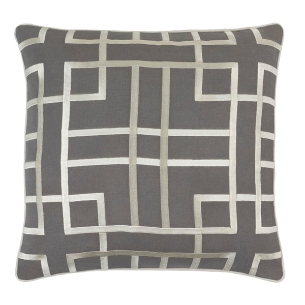 """18"""" Mouse Gray and Cream Woven Decorative Throw Pillow - Down Filler"""
