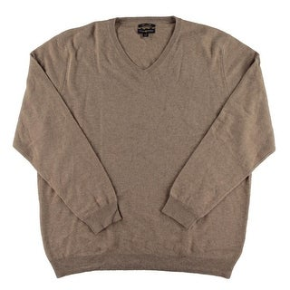 Club Room NEW Natural Heather Brown Mens Size XL Solid V-Neck Sweater