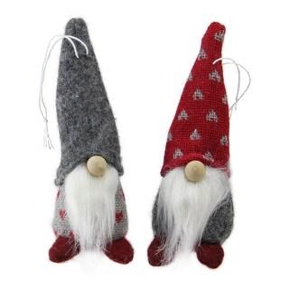 """Set of 2 Gray and Red Santa Gnomes Christmas Ornaments 4.25"""""""